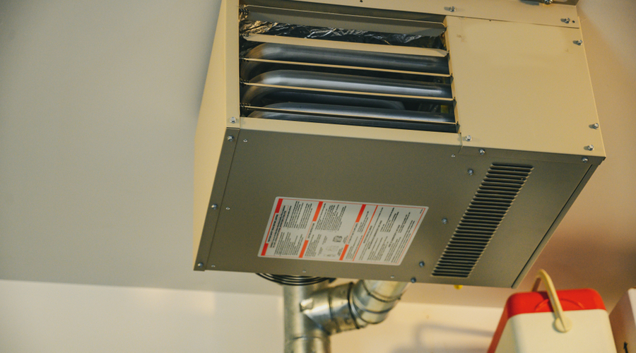 the best natural gas garage heater installed on a ceiling