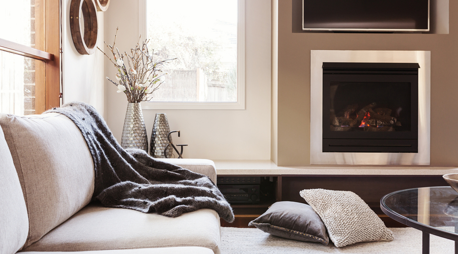 home interior with direct vent gas fireplace