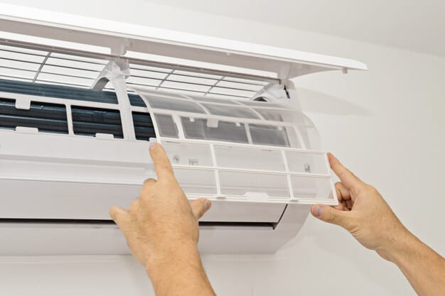 Air conditioning on a white wall